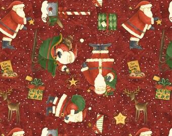 Wilmington Prints - Santas Big Night By Debbie Mumm - Toss - Red - Fabric by the Yard 67557-371