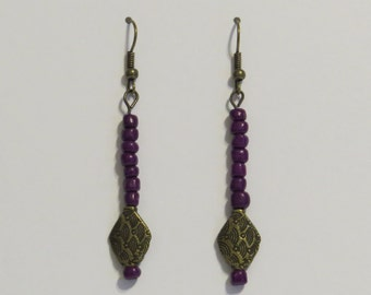 E-1768 Dark purple and antique gold earrings