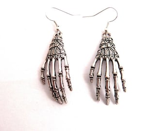 Steampunk skeleton hand earrings