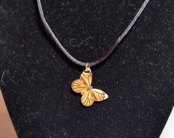 Orange Butterfly Necklace // Butterfly Necklace
