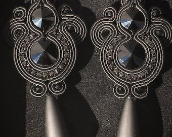 Earrings in Soutache and crystals