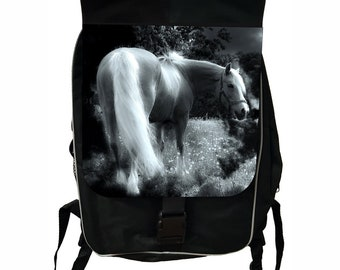 Horse in the Wild Large Black School Backpack