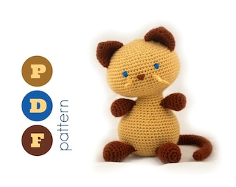 PDF Amigurumi siamese cat pattern. Instant download file. Vina, cute kitty.