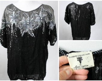 Vintage Sequin Shirt, Women's Sequin Top, Vintage Sequinned Shirt, Black Sequin Shirt, Black and Silver Sequin Shirt, Vintage Beaded Shirt