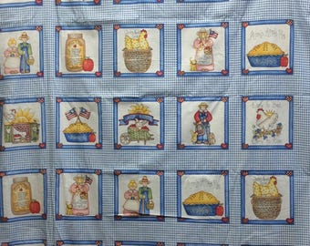 Country Squares/Blue Check/Cotton Fabric By The Yard