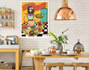 Poster Sized Kitchen Catrina Art Print. Tacos. Day of the Dead Art Mexican Food & Pinup Skeleton Art. Fun funky kitchen decor.