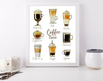 Coffee Time - Art Print Poster - 8 x 10 inch - Kitchen Decor