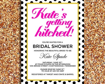 Getting Hitched Modern Bridal Shower Invitation | DIY Printable Digital File
