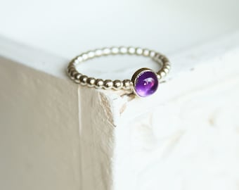 Sterling silver amethyst ring, Stacking ring, thin silver ring, stacking ring, delicate jewellery, dainty ring