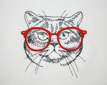 Fat Cat Embroidery Quilt Block, Cat with Glasses