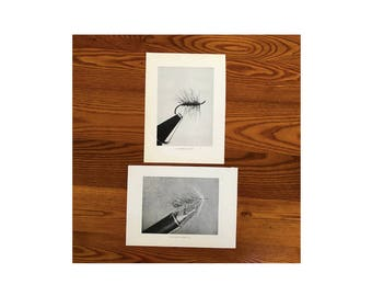 c. 1970 FLY TYING prints - original vintage fly fishing prints - angling prints - hand tied flies - sport fishing prints - fly lures prints
