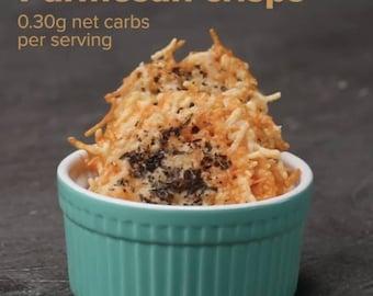 Keto friendly gluten free parmesan crisps potato chip substitute