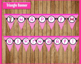Pink Minnie mouse Triangle Banner instant download, Printable Minnie mouse party Banner, Minnie mouse Banner
