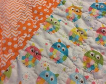 Orange polka dot and chevron Irish Chain pattern baby quilt or throw
