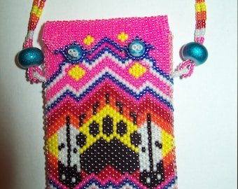 Hand Beaded Medicine Bag Necklace