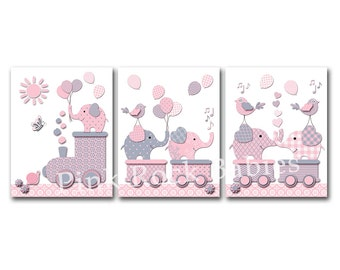 Elephant nursery wall decor baby girl artwork playroom wall art kids room decoration children room poster newborn baby shower gift pink gray