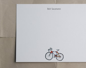 Road Bike Biker Bicycle Custom Notecard Stationery. Thank You, Any Occasion, Personalize Watercolor Print, Set of 10.
