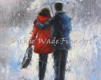 Rain Romance Art Print, lovers in rain, loving couple walking in rain, man woman, anniversary gift, umbrella, red,  Vickie Wade Art