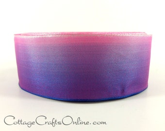 "Wired Ribbon, 1 1/2"" wide, Purple Pink Ombre - TWENTY FIVE YARD Roll -  ""Ombre Purple 610"" Gradient Ombre Wire Edged Ribbon"