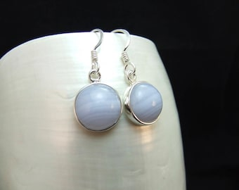 Blue Lace Agate  Sterling Silver Drop Earrings