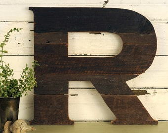 "Reclaimed Wood Letters Large Industrial Letter Rustic Wooden Letters Wall Letter Large Wooden Letters Nursery Decor 18""high Home Decor"