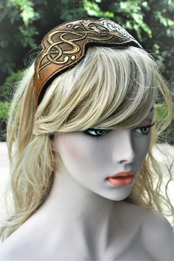 Fantasy paganfolk leather Repousse headdress patterns intertwined dragons headband headband