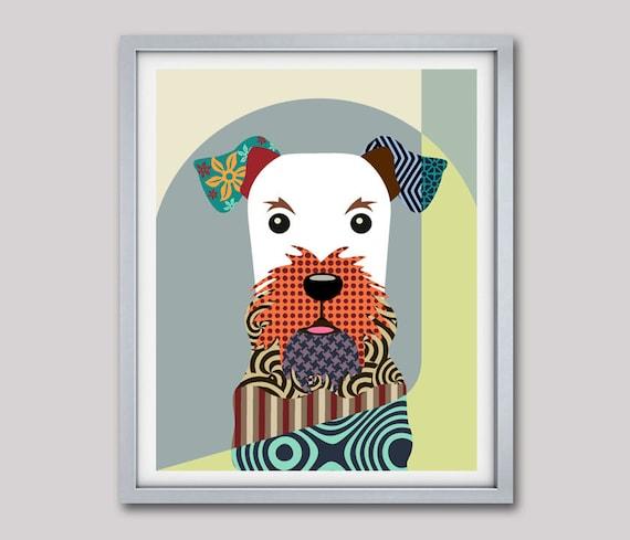 Airedale Terrier Dog Pop Art Print, Airedale Art Dog Art Design, Bingley Terrier, Waterside Terrier Dog Portrait