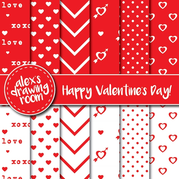 Valentines Day Red And White Digital Paper Wallpaper Clipart Polka Dots Hearts Chevrons Sheets From