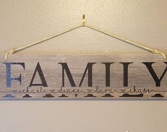 Personalized Family hanging sign