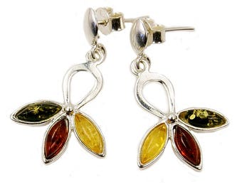 Leaf Baltic Amber Earrings Sterling Silver Dangle Earrings , AF593 The Silver Plaza