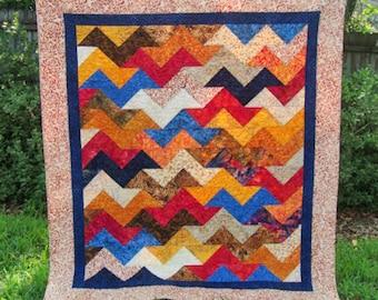 "Batik Throw Quilt 61"" x 70"" - Modern Chevron Throw Blanket - Tonga Treats Berry Crisp - Gender Neutral Batik Quilt"