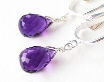 Amethyst Teardrop Earrings, Silver Clipons, Purple Briolette Clip Gemstone Earrings, Faceted Purple Stone Drops, Handmade, Little Amethyst