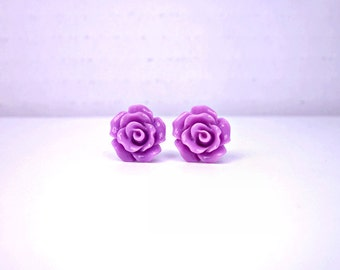 Orchid Stud Earrings; Purple Rose Earrings; Lead and Nickel Free Stud Earrings; Rosette Earrings; Rose Jewelry; Resin Rose Stud Earrings