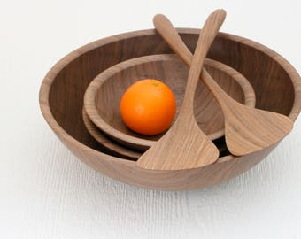 Salad bowl set, eco friendly walnut wood, 1 serving bowl, 2 single bowls, and 2 gingko-inspired servers, sustainable handmade table ware.