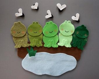 Five Green Speckled Frogs Felt Story // Felt Stories // Flannel Board Story // Circle Time // Preschool stories