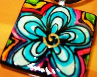 Pendant FLOWER Rainbow Handpainted Bead