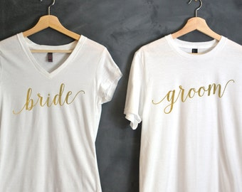 Bride & Groom T-shirt Package, Bride shirt, Groom shirt, Wedding shirts, wedding gift, bridal party shirts, honeymoon shirts, Wifey, set
