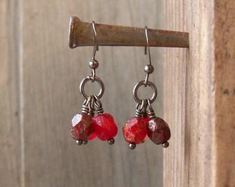 Red Dangle Earrings - Short Red Earrings - Lightweight Earrings - Short Dangle Earrings - Women's Earrings - Gift for Her - Bead Earrings
