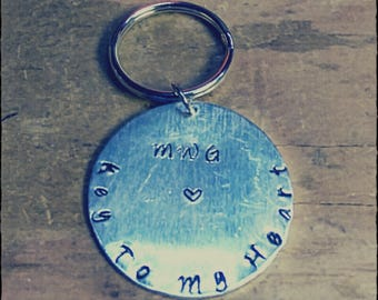 Hand Stamped Circle Keychain