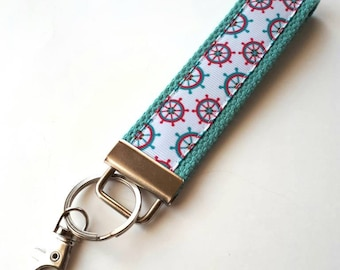 Nautical KEY FOB Wristlet - Sailing Gift - Womens Gift Under 10 - Nautical Keychain for Her - Wristlet Key Chain - Cute Grad Gift for Her