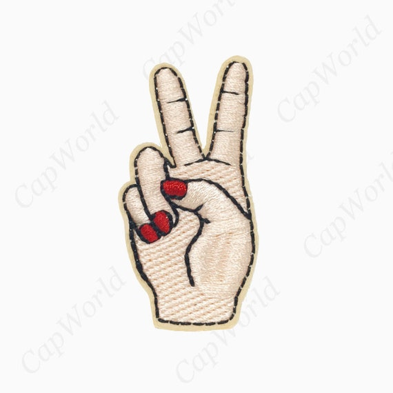 Peace Sign Iron On Patch Victory Finger Patch Peace Sing