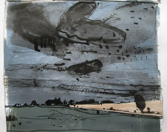 Sky Over 10, Original Summer Landscape Collage Painting on Paper, Stooshinoff