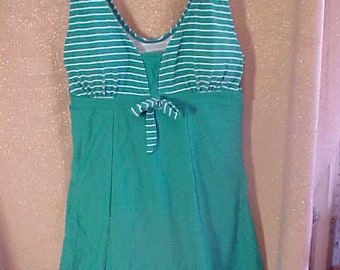 Vintage Green and white  Bathing suit, Large  #3396