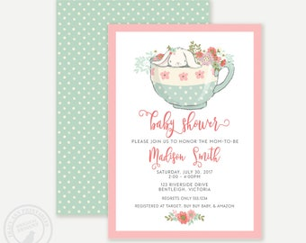 Bunny Baby Shower | Bunny Rabbit in Teacup Baby Shower Invitation | Cute Baby Animal mint and pink invite | BabyShower |  Printable 0529