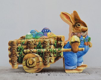 Wood Easter Rabbit Wagon . Unique Easter Collectible . Easter Bunny . Easter Basket . Nice Collectible . Easter Collectible