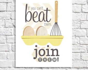 Funny Kitchen Art Humorous Print Breakfast Nook Wall Art Eggs Artwork Whisk Art Kitchen Picture Yellow And Gray Kitchen Decor Cooking Quote