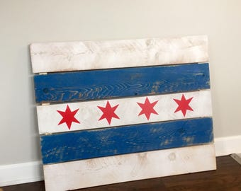 Chicago Flag Wood Art