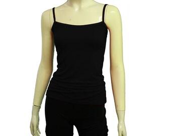 Tank-Top schwarz Lagenlook Shirt Jersey Cami Yoga ärmelloses shirt