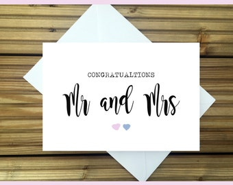Congratulations Mr and Mrs Wedding Card Vintage Style Font