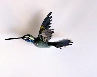 Blue Throated Hummingbird Magnet  3d Refrigerator Magnets Kitchen Decor Collectible Handmade Bird Magnet
